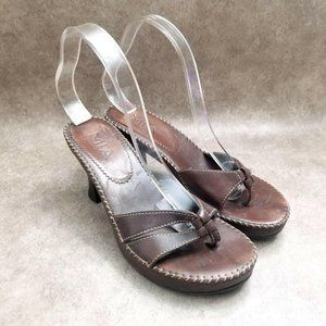 MIA Womens   Size 7.5 Brown  Leather Thong Heels